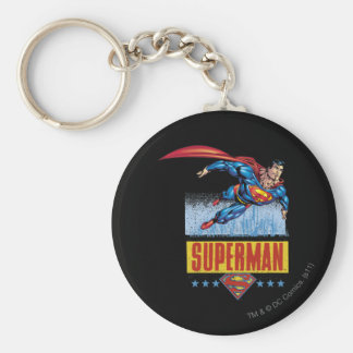 Superman with cityscape basic round button key ring