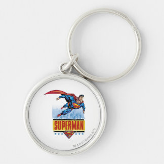 Superman with cityscape Silver-Colored round key ring