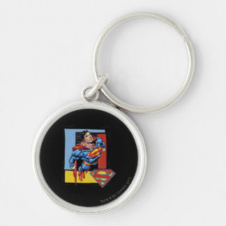 Superman with colorful background key ring