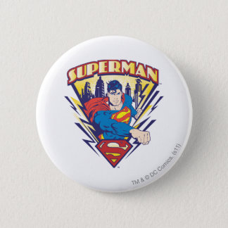 Superman with Electricity 6 Cm Round Badge