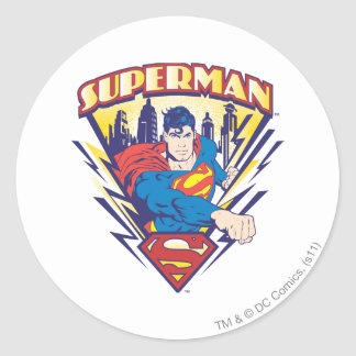 Superman with Electricity Classic Round Sticker