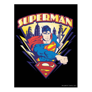Superman with Electricity Postcard