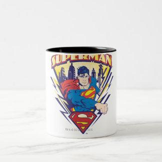 Superman with Electricity Two-Tone Coffee Mug