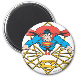 Superman with Logo 6 Cm Round Magnet