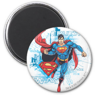 Superman with Logo 6 Cm Round Magnet