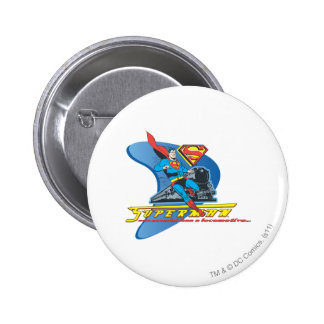 Superman with train - Color 6 Cm Round Badge