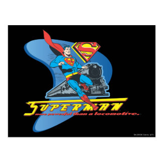 Superman with train - Color Postcard