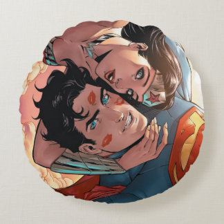 Superman/Wonder Woman Comic Cover #11 Variant Round Cushion