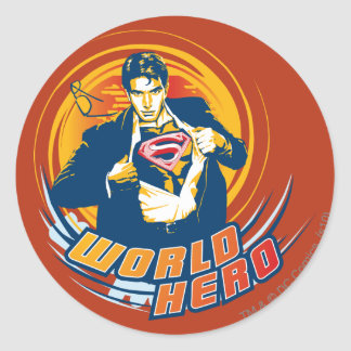 Superman World Hero Classic Round Sticker