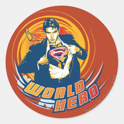 Superman World Hero Round Sticker