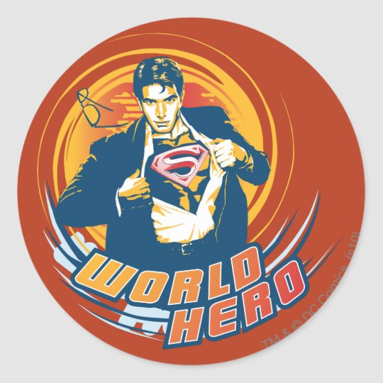 Superman World Hero Round Sticker
