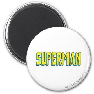 Superman | Yellow Blue Letters Logo 6 Cm Round Magnet