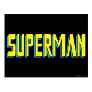 Superman | Yellow Blue Letters Logo Postcard