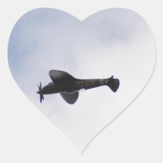 Supermarine Spitfire Mid victory Roll Heart Sticker