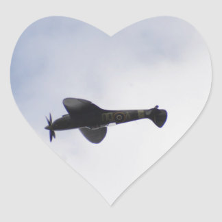 Supermarine Spitfire Mid victory Roll Heart Sticker