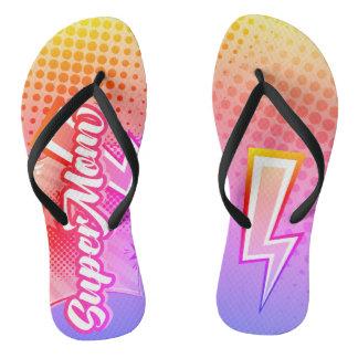 SuperMOM gift beach sandals flip flops mom PINK