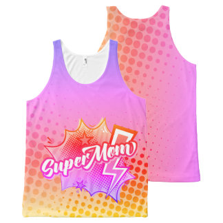 SuperMOM tank top gift, comic style PINK