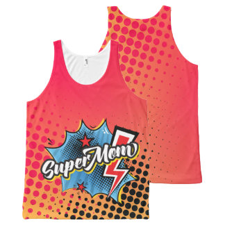 SuperMOM tank top gift, comic style RED