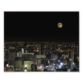 Supermoon, Blood Moon at Osaka Japan Photo Print