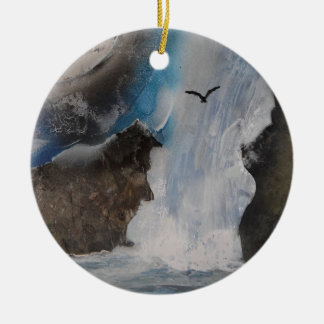 Supermoon by the waterfall round ceramic decoration