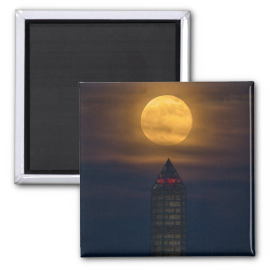 Supermoon Over Washington Monument Magnet