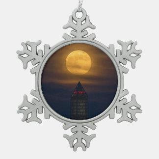 Supermoon Over Washington Monument Snowflake Pewter Christmas Ornament