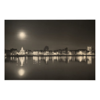 Supermoon rising over Norfolk town UK BW Wood Wall Art