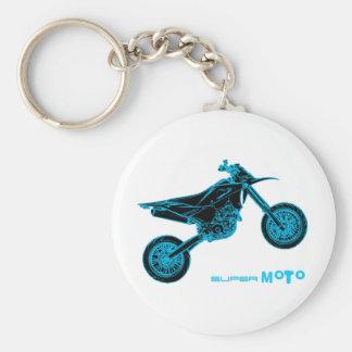 SuperMoto Wheelie Basic Round Button Key Ring