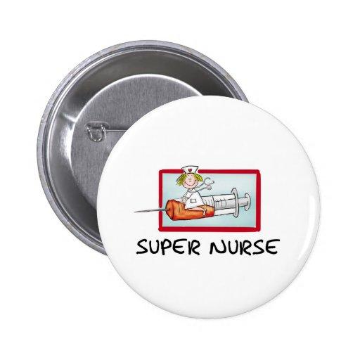 supernurse - Humorous Cartoon Nurse on Syringe. Pinback Buttons