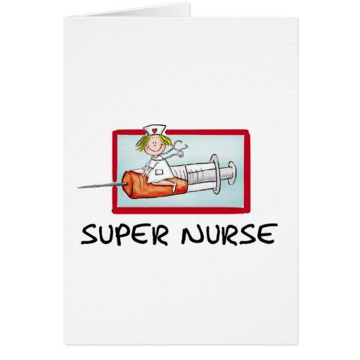 supernurse - Humorous Cartoon Nurse on Syringe. Card