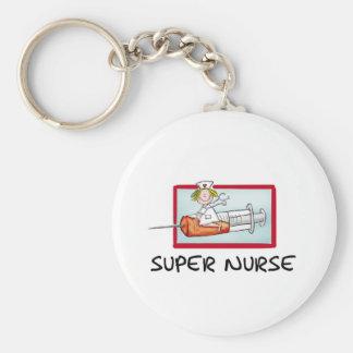 supernurse - Humorous Cartoon Nurse on Syringe. Key Ring
