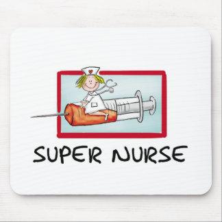 supernurse - Humorous Cartoon Nurse on Syringe. Mouse Pad