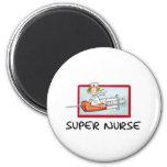 supernurse - Humourous Cartoon Nurse on Syringe. Refrigerator Magnets