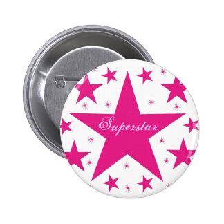 Superstar Button, Pink 6 Cm Round Badge