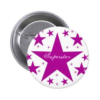 Superstar Button, Purple 6 Cm Round Badge