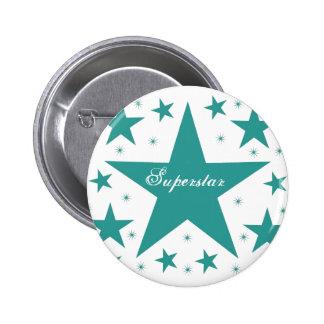 Superstar Button, Teal 6 Cm Round Badge