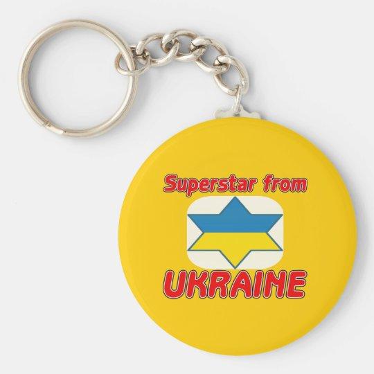 Superstar from Ukraine Basic Round Button Key Ring
