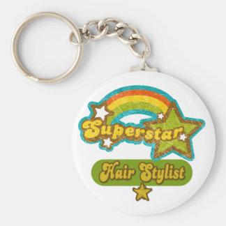 Superstar Hair Stylist Basic Round Button Key Ring