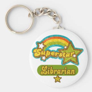 Superstar Librarian Basic Round Button Key Ring