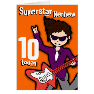 Superstar Nephew 10th birthday orange red boy card