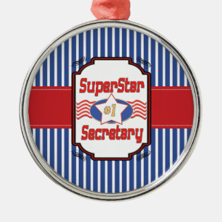 Superstar Number One Secretary Silver-Colored Round Decoration