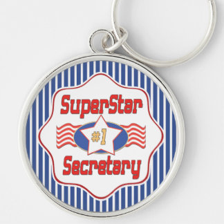 Superstar Number One Secretary Silver-Colored Round Key Ring