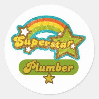 Superstar Plumber Classic Round Sticker