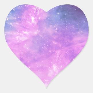 SuperStar Purple Space Art Heart Sticker