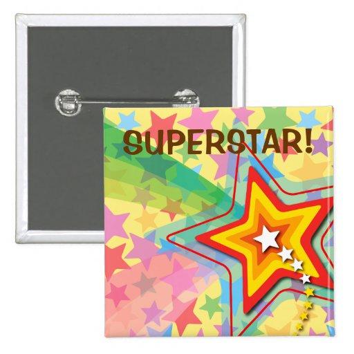 Superstar Rainbow Colorful Fun Custom Gift Button