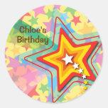 Superstar Rainbow Fun Kids Birthday Party Sticker