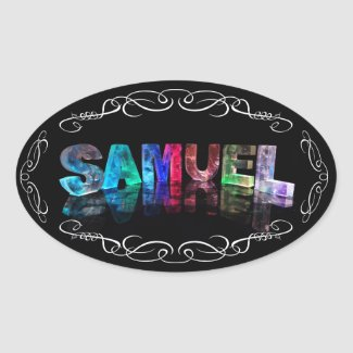 Superstar Samuel - Name in Lights (Photograph) Oval Stickers