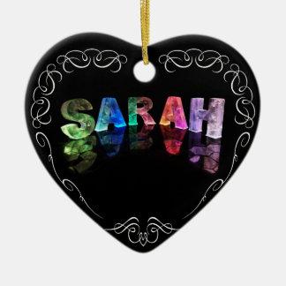 Superstar Sarah -  Name in Lights (Photograph) Christmas Ornament
