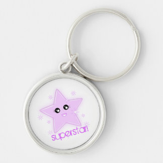 superstar! Silver-Colored round key ring