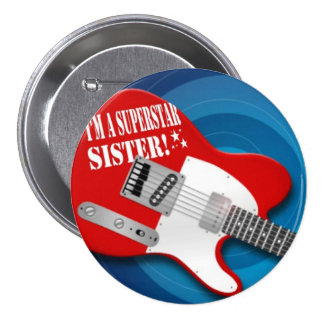 Superstar sister in red 7.5 cm round badge